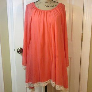 2tee Couture coral/pink tunic top 3x